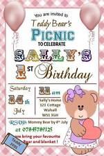 10 x Personalised Teddy Bear Picnic Birthday Invitation/Invites w Envelopes FF