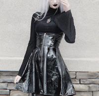 Women's Punk Dress PVC Patent Leather Goth Short Dresses Zipper Buckle Strap