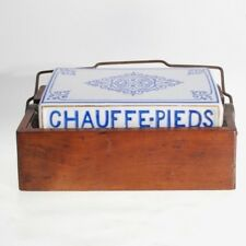 ANTIQUE FRENCH PORCELAIN & WOOD FOOT WARMER CHAUFFE-PIEDS