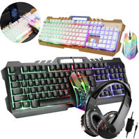 Gaming Keyboard and Mouse Mechanical Feel Led Light Backlit 3.5mm Gaming Headset