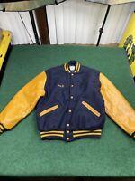 Vintage Delong Wool Varsity Jacket Black & Gold Size XL Highschool Varsity