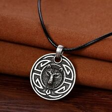 Antique Silver Plt Celtic Knotwork Wolf Face Pendant Necklace Viking Norse Gift