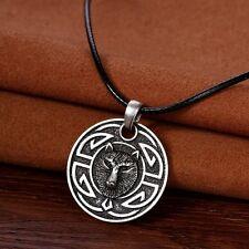 Plata Antigua PLT Celta Knotwork Wolf cara Colgante Collar Regalo Viking Norse