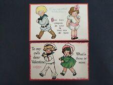 2 Antique Mary Eleanor George Postcards ~ Valentines Children