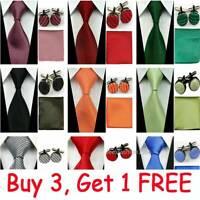 """4"""" Mens Grooms Wedding Silk Tie Set Cufflinks Handkerchief Neckties Red Men Ties"""
