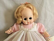 "Pussy-Cat Madame Alexander 14"" Crying Baby Doll with Brown Eyes in Pink Gigham"