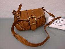 PRADA Milano Designer Leder Tasche Handtasche Umhängetasche Bag Cognac Braun