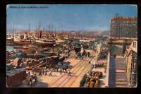 french Tuck waterfront ships dock Marseille France postcard