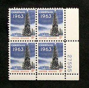US Stamps Plate Blocks #1240 ~ 1963 CHRISTMAS TREE & WHITE HOUSE 5c MNH