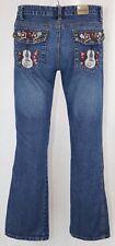 Embroidered Guitar Boot Cut 9 Blue Jeans D Medium Wash Denim Pants Stretch Music