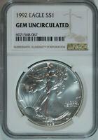 1992 American Silver Eagle Dollar $1 / .999 Pure / NGC GEM BU 🇺🇸 w/bonus round