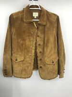 J Jill Womens Suede Long Sleeve Collared Button Down Jacket Rust Brow Size XS
