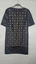 JAEGER Black Satin Pink Beaded Shift Tunic Dress Size 12 Occasion 60s Style