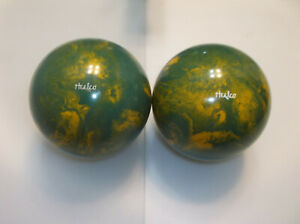 """Duckpin Balls/REFINISHED/Heelco's/2 Ball Set/ 5"""" /3lbs 9.30oz/Excellent Cond"""