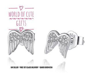 🖤🎀 Sterling Silver Stud Earrings Angel Wings S925 + Gift Pouch ❤️ Beautiful