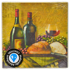 "3.75"" Wine and Bread Design Naturally Absorbent Stone Beverage Coaster, Set of 2"
