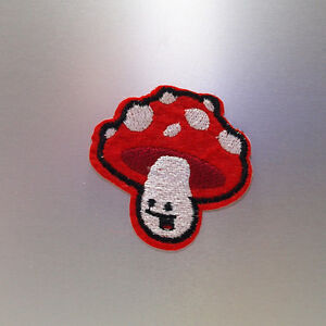 Happy Mushroom Patch — Iron On Badge Embroidered Motif — Toadstool Funny Cute