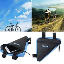 Triangle Cycling Bicycle Front Tube Frame Pouch Bag Holder Saddle Pannier Blue