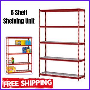 5 Shelf Shelving Unit Heavy Duty Metal Storage Rack Home Office Garage Organizer