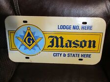 MASONS Vintage License Plate Tag Freemason Masonic  Lodge Salesman sample MASON
