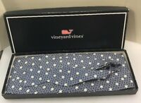 Vineyard Vines Men Navy Blue White Snowflakes Silk Bow Tie Cummerbund Set $110