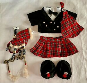 Build-A-Bear RARE Scottish Outfit with Kilt and Bagpipes **EXCELLENT CONDITION**
