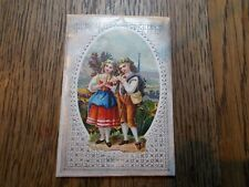 ANTIQUE  POLYCHROME DIE CUT PADDED CHRISTMAS CARD  GRANDFATHER TO MUMMY 1872