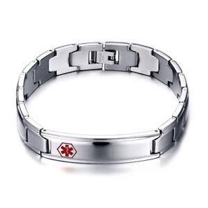 Medical Alert ID Emergency SOS Bracelet Chain Stainless steel Free Engraving ICE