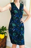 Floral Pencil Dress By JIGSAW Cotton Navy Green Uk 12 Beautiful