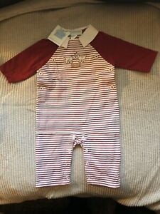 JANIE AND JACK Puppy Love Red Stripe Valentine Romper Size 0-3 Months BNWT BOYS