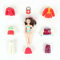 Red Polly Pocket Lot Doll with Rubber Clothes Outfits Jackets Skirt Pants Purse