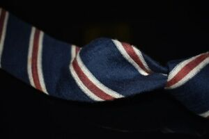 Suitsupply Made in Italy Silk Linen Blend Navy White Terracotta Repp Stripe Tie
