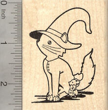 Halloween Cat Witch Rubber Stamp, with Catnip Mouse J25906 WM