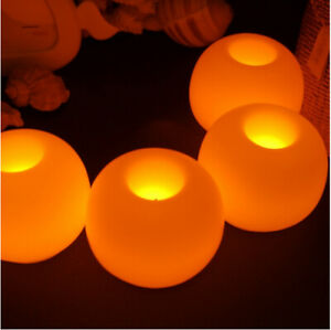 4 LED Round Candles Flickering Flame Candles Flameless Wax Garden Xmas Wedding