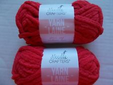 Needle Crafters Fleece Soft bulky yarn, Red, lot of 2 (22 yds ea)