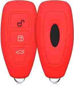 RED FORD FIESTA MONDEO FOCUS KEYLESS 3 BUTTON SILICONE COVER  CASE FLIP KEY FOB