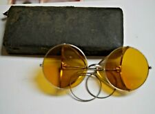 VINTAGE STEAM PUNK GLASSES WITH YELLOW LENS W/CASE
