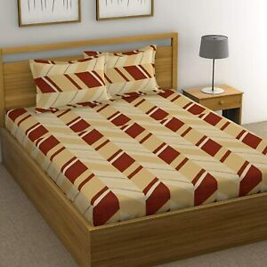 144 TC Cotton Double Bedsheet with 2 Pillow Covers - Beige & Maroon