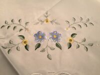 "New in Package! FANCO DAMASK 68"" ROUND TABLECLOTH Blue & Yellow Floral"