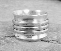 Spinner Ring 925 Sterling Silver Wide Band Meditation Ring Jewelry All Size