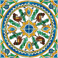 Mediterranean Spanish Ceramic Tiles - Carthage - 6 X 6""