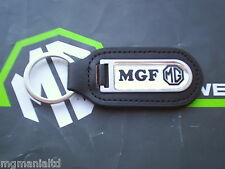 MGF MG F Genuine Leather Keyfob Keyring  Chrome / Black MG Logo mgmanialtd.com
