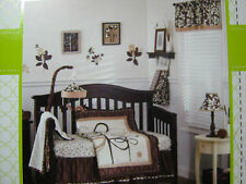 7pcs Cocalo Baby Pewter Crib Bedding Set Valance Wall Arts Quilt Diaper Stacker