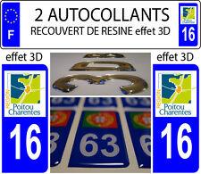 2 adesivi per targa auto TUNING EFFETTO DOMING RESINA POITOU CHARENTES 16