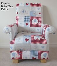 Fryetts Bobo Fabric Child's Chair Blue Kid's Patchwork Elephants Nursery Gingham