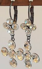 B.O dormeuse pampille croix gros solitaire cristal diamant brillance 285