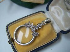 SOLID STERLING SILVER FLORAL MAGNIFYING MAGNIFIER GLASS CHATELAINE PENDANT RARE