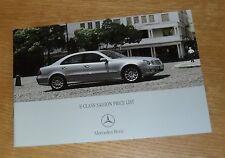 MERCEDES CLASSE E BERLINA Price Guide 2006-E200 E280 E220 E320 CDI E350 E63 AMG