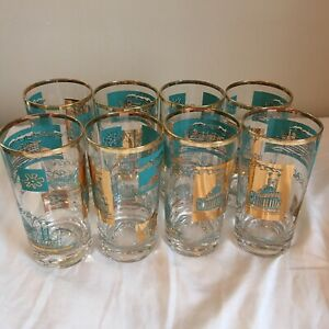 Libbey Southern Comfort Tom Collins Glasses Set of 8 Steamboat Mid Century MCM