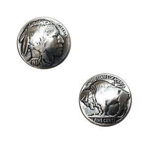 "Buffalo Nickel Indian Head Reproduction Coin Conchos Size 7/8"",Screw back concho"